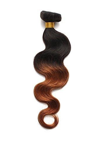 Afro brésiliens vierges Remy extensions de cheveux humains cheveux non traités Noir naturel Cheveux Extensions capillaires Cheveux tissage 100 g/Bundle (1 Bundle 40,6 cm Body Wave Ombre Twotone 1b/30 #)