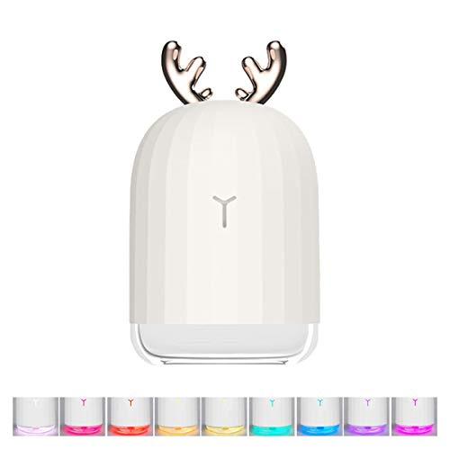 Mallalah humidificador de ciervos de Navidad, humidificador de niebla fría de 220 ml, difusor de aceite esencial con luz de respiración de 7 colores, pulverizador de humedad USB (blanco)