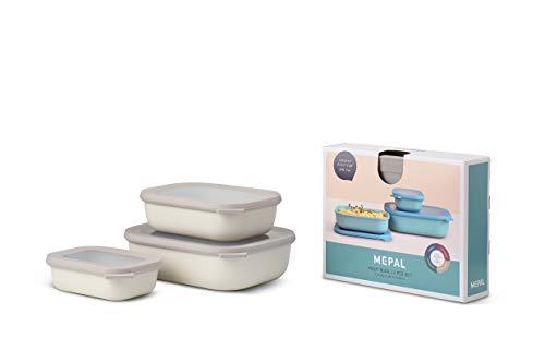 Mepal Multischüssel-Set Cirqula rechteckig 3-teilig (500+1000+2000 ml) Nordic White – Schüsselset – Frischhaltedosen – Vorratsdosen – stapelbar – spülmaschinenfest, Polypropyleen, Flach