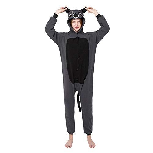 LSERVER Ropa de Dormir Disfraz de Cosplay para Adultos Traje de Unisexo Pijama de Forro Polar de Otoño e Invierno Estilo de Animales, Mapache, S