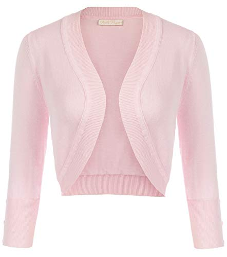 Women's Pink 3/4 Sleeve Open Front Cropped Cardigans Plus Size,XL,Pink