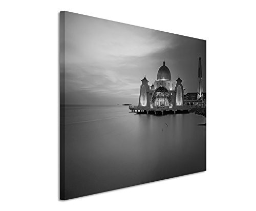 50x70 cm muurschildering fotocanvas afbeelding in zwart wit moskee bij zonsondergang