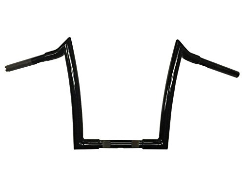 Dominator Industries 1 1/4 inch Meathook Monkey Ape Hanger Handlebar, 10 inch Rise, Gloss Black Compatible With 1996-2018 Dyna, Softail, Sportster and 1998-2013 Road Glide