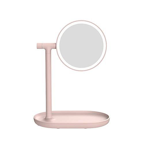 Miroir de maquillage Table Ronde Miroir De Repli De Miroir D'éclairage Rechargeable 1 / Degré D'amplification 3 Fois 270 Rotation Miroir de maquillage Voyage ( Color : White , Size : 24x15.8x32cm )