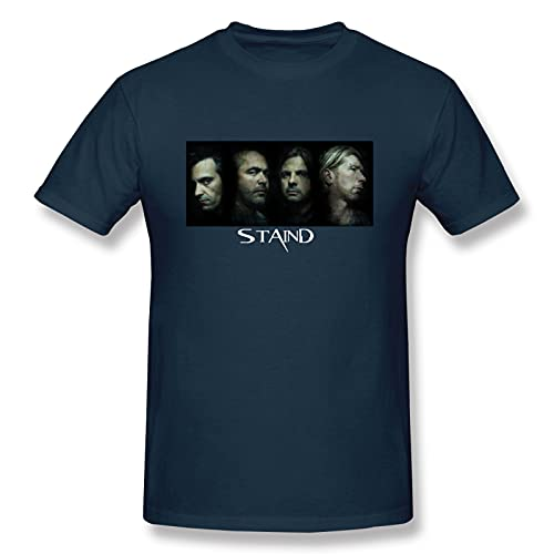 EVEKENNEDY Fashionable Men's T-Shirt,Sta`in_d4,Street Fashion Short-Sleeved top 5X-L Navy