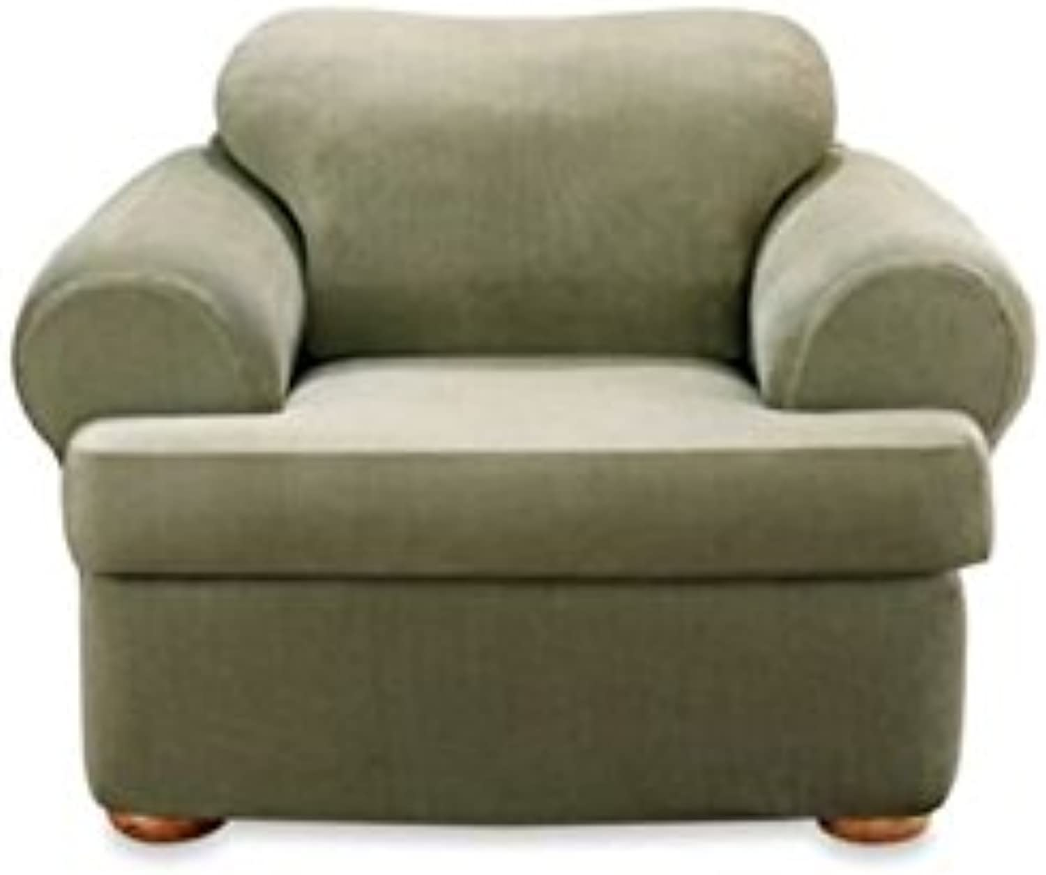 Sure Fit Stretch Stripe 2-Piece - Chair Slipcover  - Sage (SF37729)