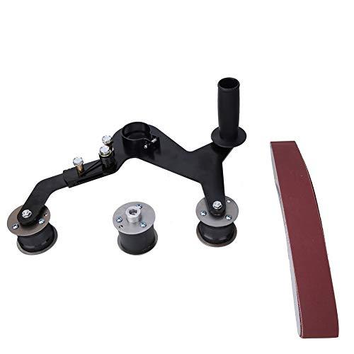 Bandschleifer Schleifmaschine Machine,Tragbarer Griff Rundrohrbandschleifer Polierer Schleifpoliermaschine zum Schleifen , Schmieden und Polieren von montierten Geländern