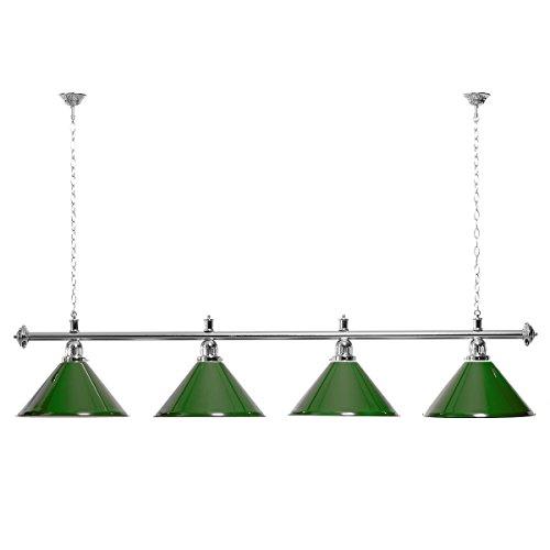 Billardlampe 4 Schirme grün/silberfarbene Halterung
