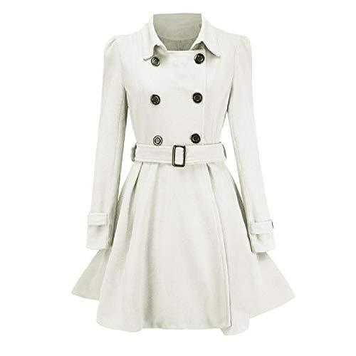 N\P Otoño Invierno Abrigo de las Mujeres Vintage Slim Doble Botonadura de Lana Chaquetas Mujer Elegante Largo Cálido Abrigo Blanco