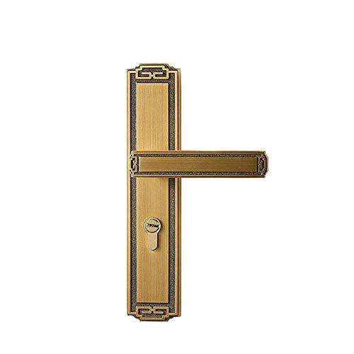 XXCHUIJU Cerraduras de puerta de latón minimalista continental para dormitorio, manija de puerta interior, cerradura de seguridad silenciosa para el hogar, bronceador de café (color latón)