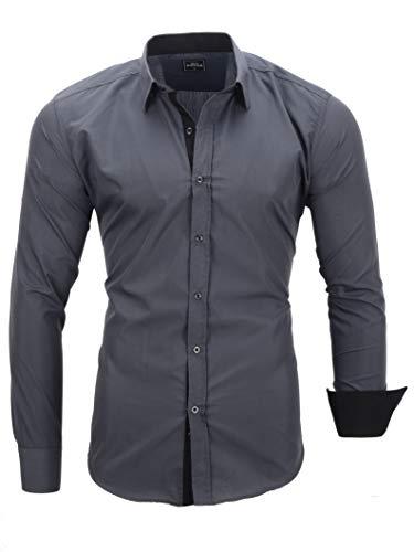 Ma.Rouge Herren Hemden, 2Face Grau L