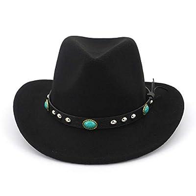 Lisianthus Men & Women's Felt Wide Brim Western Cowboy Hat (S-Black)
