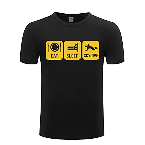 HUAN Camiseta de Manga Corta para Hombre Come Sleep Skydive Skydiving Parachute Style 3-M