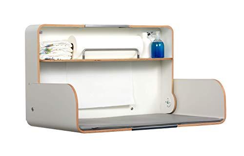 KAWAQ white | timkid Wickeltisch | TÜV-geprüft | klappbarer & platzsparender Wandwickeltisch | inkl. grauer Wickelmatte | Ideal für den öffentlichen & privaten Bereich | Made in Germany