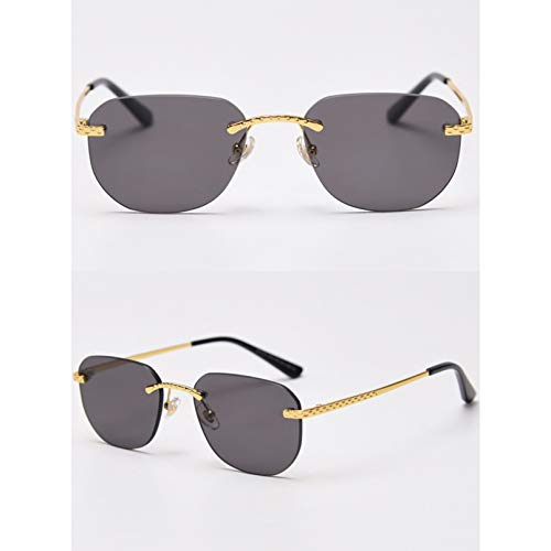 SXRAI Gafas de Sol cuadradas sin Montura para Hombre, Espejo, Azul, Verde, Rojo, Gafas de Sol sin Marco para Mujer, Metal Dorado Uv400,C1