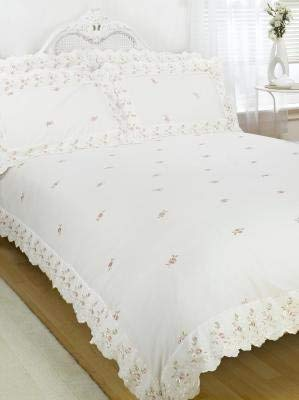 Sophie Duvet Quilt Cover Floral Lace Trim Embroidered Bed Set, Polyester-Cotton, Cream, King