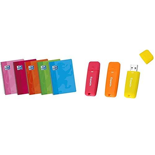 Oxford Classic 100430166, Pack de 5 cuadernos espiral de tapa blanda, formato A5 + Espeon Pack de 3 Unidades, 32GB Memoria USB 2.0 Flash Drive, Carcasa de Goma (Naranja, Amarillo, Rojo)