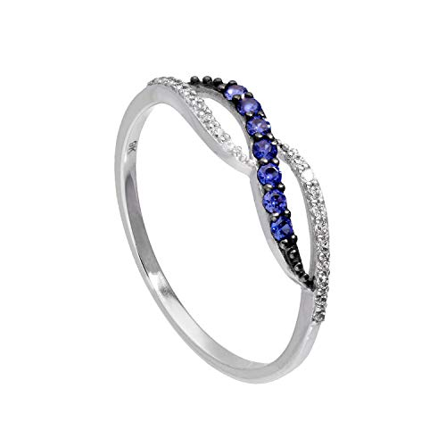 9ct White Gold & Sapphire Infinity Swirl Ring w Clear CZ Crystals Size T (Available I - U)