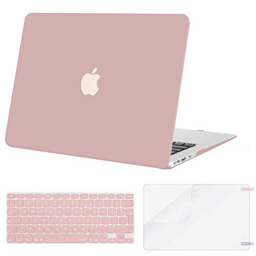 MOSISO Case Compatible with MacBook Air 13 Inch A1369/A1466, Older Version Release 2010-2017, Plastic Shell Cover & Matching Color Keyboard Cover EU Layout & Screen Protector, Rose Quartz