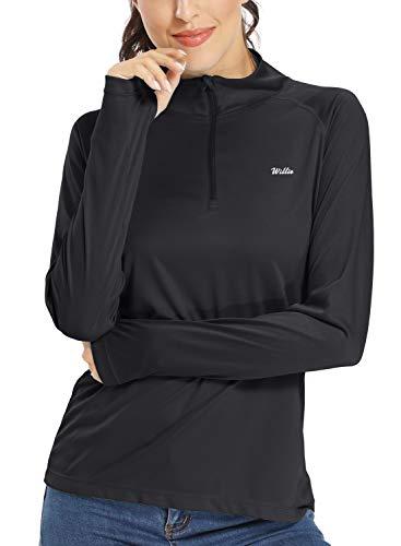 Willit Damen UPF 50+ Sonnenschutz Shirt Langarm LSF Shirt Golf Laufen Wandern Tops Half-Zip Leicht - Schwarz - X-Groß
