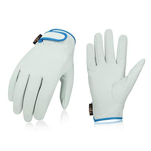Vgo 3双入 牛表革 作業皮手袋 M(Size M,White,CA7135-AB)