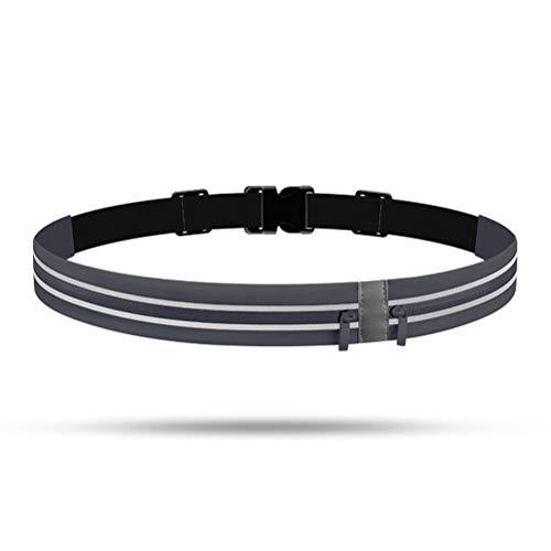 Linoni - Riñonera invisible para deportes al aire libre, impermeable, para ciclismo, antirrobo, bolsa para teléfono móvil ultra fina para correr y correr, SO032801013_DG-1544-1439592501, gris oscuro
