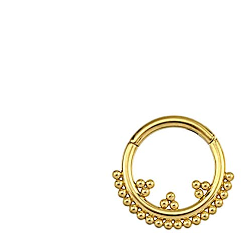 CHICNET Hinged Segment Ring Septum Nostril Ear Lobe Helix Tragus Lip Universal Piercing Ring Stainless Steel Gold Rose Gold PVD Dots Triangles 8 mm x 1.2 mm gold