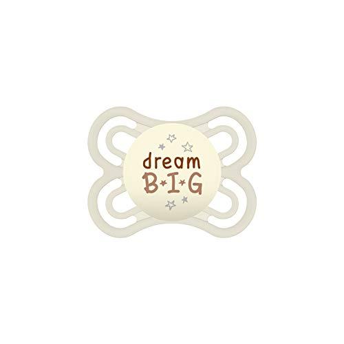 MAM Perfect Night Schnuller, beugt Zahnfehlstellungen vor, besonders dünner & flexibler Silikonschnuller, leuchtet im Dunkeln, 0-6 Monate, Dream Big