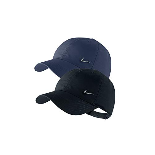 Nike 2er Set Metal Swoosh Logo Cap Weiß, Blau und/oder Schwarz Basecap verstellbar Uni (1x Blau + 1x Schwarz)