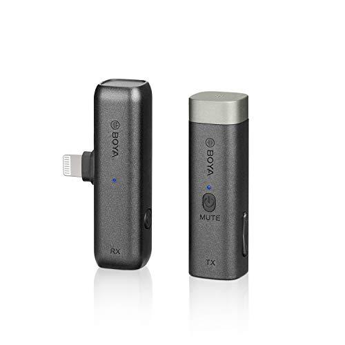 BOYA BY-WM3 Mini 2.4G Wireles Micrófono, Transmisor de clip Receptor Portátil Caja de Carga para IOS iPhone Podcast Facebook Youtube Vlog Grabación de vídeo (BY-WM3D)