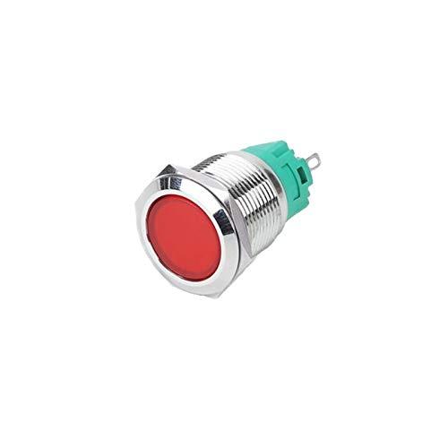 Security Accessory Botón Interruptor de botón de Metal de 19 mm con área Grande Lámpara LED Momential/Latching Car/Computer/Doorbell DIY 3V 6V 12V 24V 110V 220V (Color : Blue, Size : Momentary)
