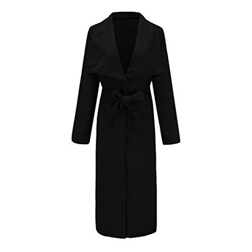 QingJiu Damen Winterjacke Knopf Langen Trenchcoat Mode Revers Mantel Gürtel Bandage Parka Outerwear