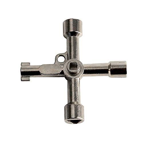 YOUZHA Multifunctionele 4-weg universele sleutel Klempnersleutel voor gasstroommeter kasten Bleed Radiators zilver