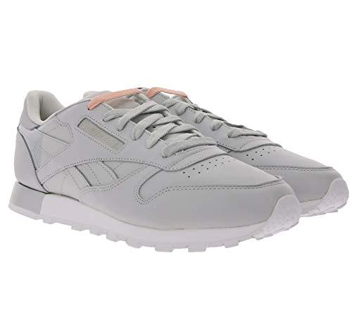 Reebok Classic Leather Matte Shine Echtleder-Schuhe Coole Sneaker Freizeit-Schuhe Low Top Schuhe Grau/Silber, Größe:42 1/2
