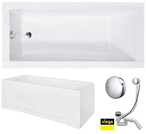 VBChome Badewanne 150x70 cm Acryl SET Schürze Siphon Acrylwanne Wanne Rechteck Weiß Design Modern Wannenfüßen Ablaufgarnitur Chrome Viega Simplex
