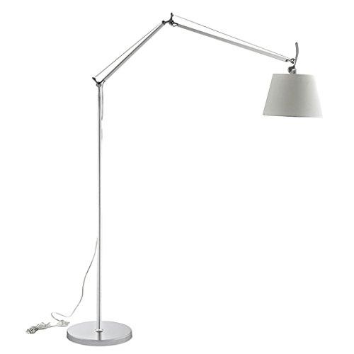 Lampe de plancher réglable en métal à double bras, abat-jour en tissu, douille en alliage, E27, argent, lampe de plancher verticale de bureau simple d'étude de salon de style nordique