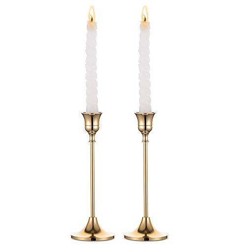 Nuptio 2 Stück Kerzenständer, Golden Grass Hochzeit Esstisch Mittelstücke Dekorative Messing Kerzenhalter Metall Kandelaber, Passt Standard Größe Taper Kerzen