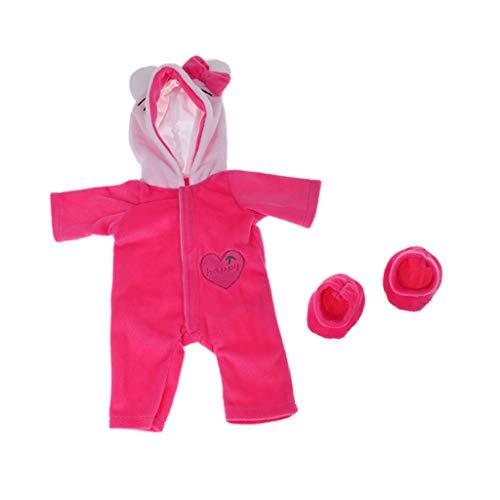 Baoblaze Puppenkleidung Plüsch Hoodies Strampler / Kapuze Jumpsuit mit Socken Outfit Set für 18 Zoll Amerikanische Mädchenpuppe - Rosa Katze