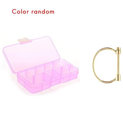 Timagebreze 1 Pcs Removable Cases for Jewellery Fake Nails Pills & 1 Pcs Shackle Screw Cuff Bracelet Steel Bracelets