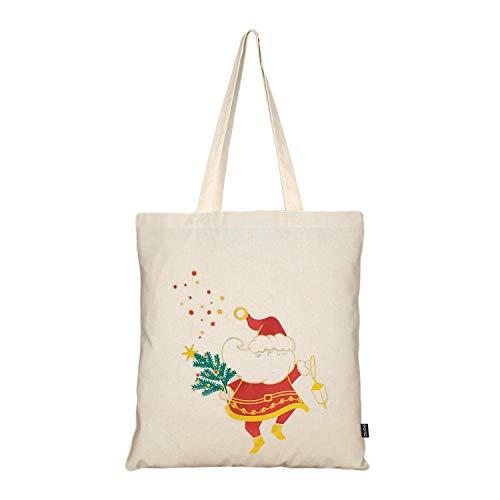 EONO Einkaufstasche aus Baumwollleinen, wiederverwendbare Einkaufstasche, Einkaufstasche, Lebensmittel, Schultertasche, umweltfreundliche Geschenke für Frauen, Kinder, Mädchen, Handtaschen (Santa Joy)