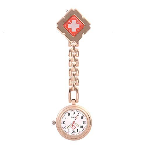 nohbi Reloj de Bolsillo con Clip,Reloj de Bolsillo Colgante de Broche de Enfermera de Moda,Reloj de Bolsillo de Cuarzo de aleación-C,Reloj de Bolsillo Enfermera Prendedor Broche