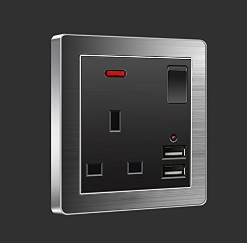 Toma de corriente 13A, Enchufe de doble interruptor USB de carga rápida, Enchufe de enchufe de pared de acero cepillado para el hogar, estándar británico