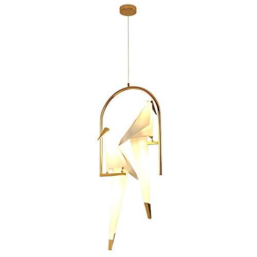 Araña Colgando de pájaro del Oro de la lámpara de la Jaula de la lámpara Pendiente de la Sala Dormitorio Pájaro de Origami Luz Cocina Comedor Casa de Papel Colgantes Accesorios de iluminación