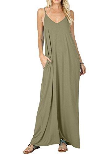 CALIPESSA Womens Deep V Neck Sexy Loose Long Sundress with Pockets Army Green M