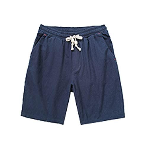 Fishoneion Men's Flat Front Shorts Summer Lounge Shorts Casual Cotton Linen Loose Shorts Solid Color Drawstring Beach Short Blue