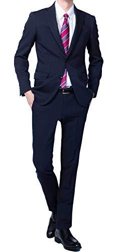 (Richard&Neil) 01まるごと 洗える メンズ ビジネス スーツ スリム デザイン 裾上げテープ付き ネイビー ストライプ g172z100 YA5