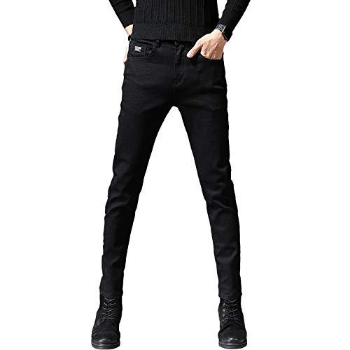 Pantalones Casuales de Color sólido de otoño para Hombre Pantalones de pies Delgados Versión Coreana de la Tendencia de Jeans Ajustados de Estiramiento Simple 32