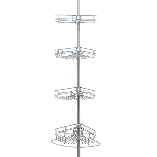 Zenna Home Shower Tension Pole Caddy, Satin Chrome