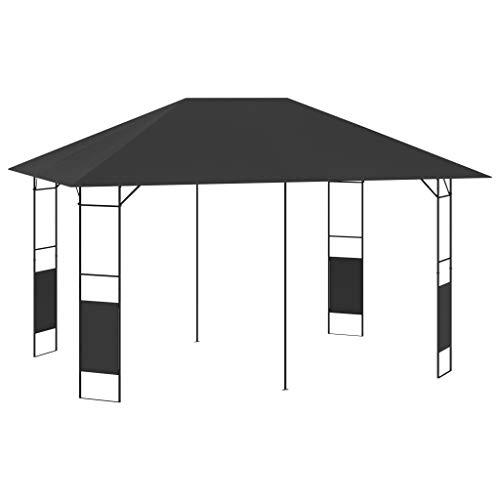 vidaXL Cenador de Jardín Toldo Parasol Marquesina Pabellón Carpa Gazebo Aire Libre Terraza Exterior Fiestas Eventos Gris Antracita 4x3 m 160 g/m²