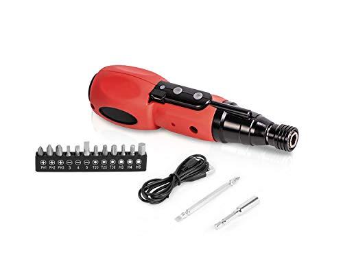 Juego Magnético de Destornilladores Eléctricos | Cable USB, LED, 12 puntas, 2Nm,...
